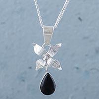 Obsidian flower pendant necklace,
