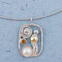 Cultured pearl and citrine pendant necklace, 'Fantastic Dream' - Cultured Pearl and Citrine Pendant Necklace from Peru