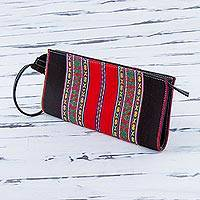 Cotton wristlet, 'Andes Fashion' - Cotton Denim Wristlet in Black and Red by Peruvian Artisans