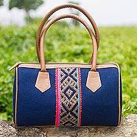 Cotton handle handbag, 'Beauty of the Andes' - Cotton Denim Handle Handbag in Navy by Peruvian Artisans