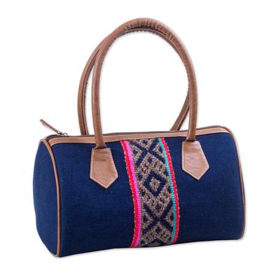 Cotton Denim Handle Handbag in Navy by Peruvian Artisans