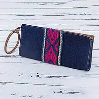 Cotton wristlet, 'Andean Navy' - Cotton Denim Wristlet in Navy by Peruvian Artisans