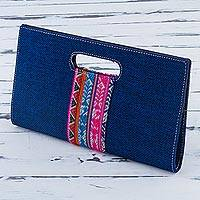 Cotton clutch, 'Fashion Night' - Cotton Denim Clutch Handbag in Navy by Peruvian Artisans