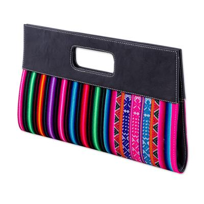 Multicolored Cotton Clutch Handbag by Peruvian Artisans