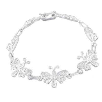 Sterling Silver Filigree Butterfly Link Bracelet from Peru