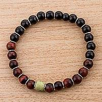 Serpentine, tiger's eye and agate beaded stretch bracelet, 'Light in the Dar..