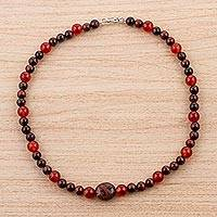Obsidian, tiger's eye, and carnelian beaded pendant necklace, 'Red Sensuality' - Obsidian Tiger's Eye and Carnelian Beaded Pendant Necklace