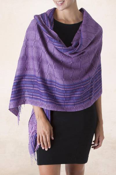 100% baby alpaca shawl, 'Orchid Temptation' - Dark and Light Purple Soft Peruvian Alpaca Shawl