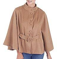 100% baby alpaca cape, 'Dreamy Golden Brown' - Warm 100% Alpaca Golden Brown Cape with Belt from Peru