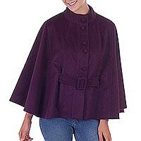 100% baby alpaca cape, 'Dreamy Boysenberry' - Warm 100% Alpaca Boysenberry Cape with Belt from Peru