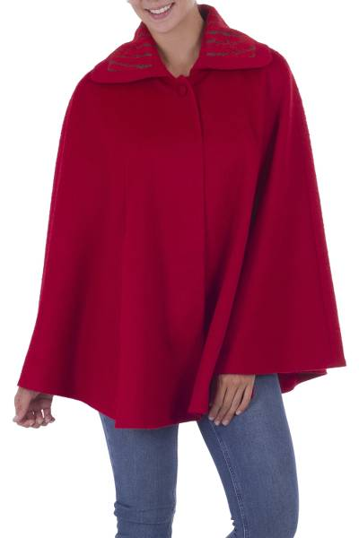 Fair Trade Alpaca Blend Long Lined Ruby Red Cape from Peru