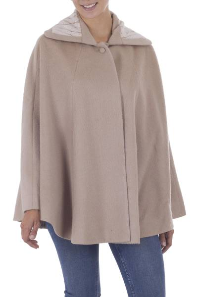 Fair Trade Alpaca Blend Long Lined Taupe Cape from Peru