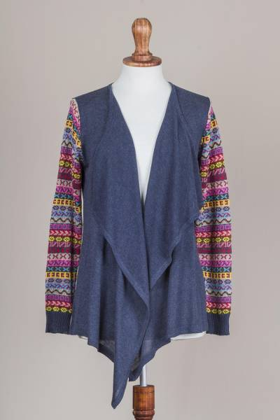 Cotton blend cardigan, 'Pisac Market in Blue' - Solid Blue Cardigan with Open Front and Multicolor Sleeves