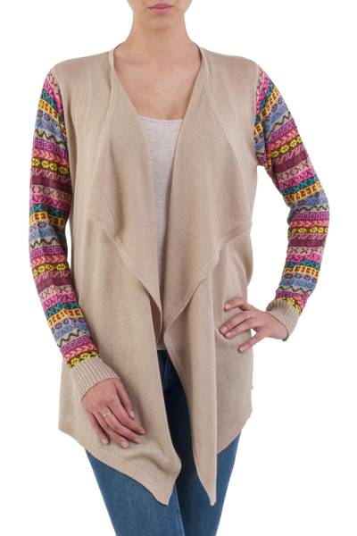 Cotton blend cardigan, 'Pisac Market in Pale Beige' - Solid Beige Cardigan with Open Front and Multicolor Sleeves