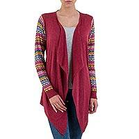 Cotton blend cardigan, 'Pisac Market in Wine' - Wine Open Front Cardigan with Multicolor Sleeves