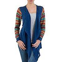 Cotton blend kimono-style cardigan, 'Market Walk in Blue' - Solid Blue Open Kimono Cardigan with Multicolor Sleeves