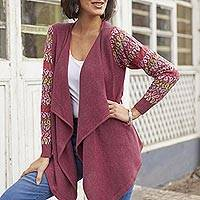 Cotton blend cardigan, 'Garden in Wine' - Wine Red Peruvian Open Front Cardigan with Florid Sleeves