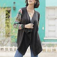 Cotton blend cardigan, 'Grey Southern Star' - Solid Grey Open Cardigan with Multicolor Patterned Sleeves