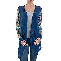 Cotton blend cardigan, 'Blue Southern Star' - Blue Open Cardigan with Multicolored Patterned Sleeves