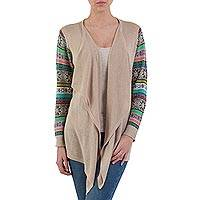 Cotton blend cardigan, 'Beige Southern Star' - Solid Beige Open Cardigan with Patterned Sleeves from Peru