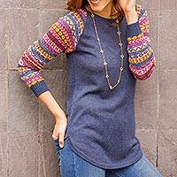 Cotton blend sweater, 'Andean Walk in Azure' - Azure Blue Tunic Sweater with Multi Color Patterned Sleeves