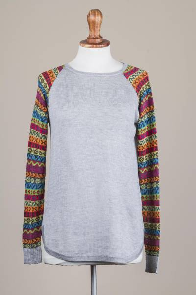 Cotton blend sweater, 'Cusco Market in Ash Grey' - Grey Tunic Sweater with Multi Color Patterned Sleeves
