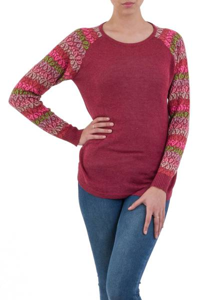 Cotton blend sweater, 'Garden Vine in Wine' - Tunic Sweater in Wine with Multi Color Floral Sleeves