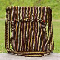 Wool shoulder bag, 'Pastel Earth' - Hand Woven Wool Shoulder Bag with Stripes in Earth Tones