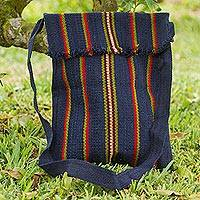 Wool shoulder bag, 'Indigo Andes' - Hand Woven Wool Indigo Shoulder Bag with Multicolor Stripes