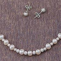 Cultured pearl jewelry set, 'Paradise Treasures' (set of 3) - 925 Sterling Silver Cultured Pearl Jewelry Set from Peru