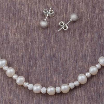 Cultured pearl jewelry set, 'Paradise Treasures' - 925 Sterling Silver Cultured Pearl Jewelry Set from Peru