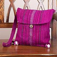 Wool shoulder bag, 'Inca Magenta' - Bright Magenta Wool Lined Shoulder Bag Hand Woven in Peru