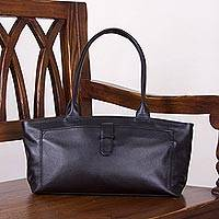 Leather baguette handbag, 'Jet Black Style' - Black Baguette Bag Crafted of Quality Leather with 4 Pockets