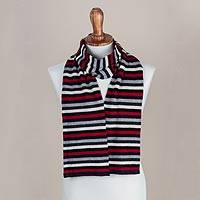100% baby alpaca scarf, 'Striped Road' - 100% Baby Alpaca Crimson Black and Eggshell Striped Scarf
