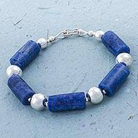 Sodalite beaded bracelet, 'Ocean Stones' - Sodalite and 925 Sterling Silver Beaded Bracelet from Peru