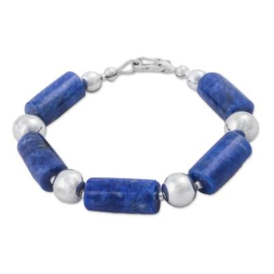 Sodalite and 925 Sterling Silver Beaded Bracelet from Peru