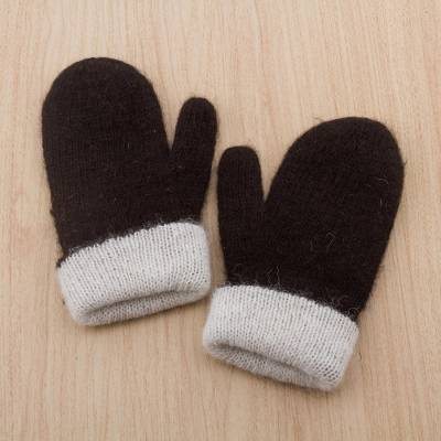 100% alpaca reversible mittens, 'Striking Contrast' - Peruvian Reversible 100% Alpaca Black and Eggshell Mittens