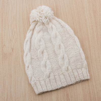 Natural 100% alpaca hat, 'Antique White' - Natural 100% Alpaca Knit Hat with Braid Motif