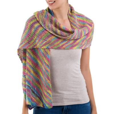 100% alpaca shawl, 'Natural Color' - Naturally Colored Alpaca Wool Shawl by Peruvian Artisans