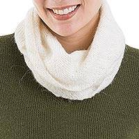 Natural 100% alpaca neck warmer, 'Natural Field' - Natural Alpaca Wool Neck Warmer in Natural from Peru