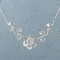 Sterling silver pendant necklace, 'Petal Temptation' - Sterling Silver Floral Pendant Necklace by Peruvian Artisans