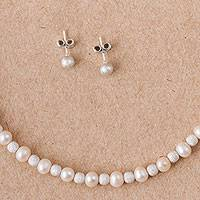 Cultured pearl jewelry set, 'Chic Sparkles' - Cultured Pearl Necklace and Earrings Jewelry Set from Peru