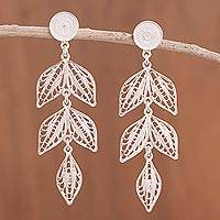 Sterling silver filigree dangle earrings, 'Sweet Leaves' - Handcrafted Sterling Silver Filigree Leaf Earrings Peru