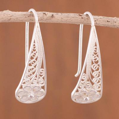Sterling silver filigree flower drop earrings, 'Blossoming Dewdrops' - Artisan Crafted Sterling Silver Filigree Flower Earrings