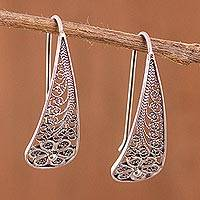 Sterling silver filigree flower drop earrings,