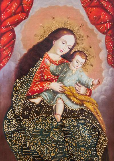 'The Virgin Rocking the Baby' - Peruvian Colonial Replica of Virgin Mar with Little Jesus