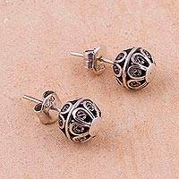 Sterling silver filigree stud earrings,