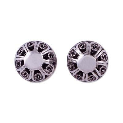 Vintage Style 925 Sterling Silver Filigree Stud Earrings