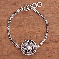 Sterling silver filigree pendant bracelet, 'Vintage Beauty' - Hypnotic Filigree Pendant on Antiqued 925 Silver Bracelet