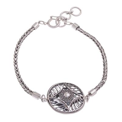 Hypnotic Filigree Pendant on Antiqued 925 Silver Bracelet